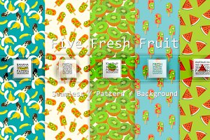 Five Fresh Fruits Seamless Pattern