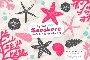 Seashells Clipart in Hot Pink