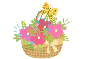 Basket of flowers with butterfly.