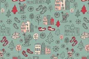 Winter seamless patterns.