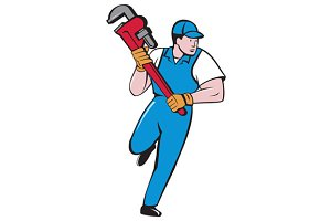 Plumber Running Pipe Wrench Cartoon