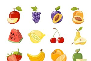 Vector juicy fruits collection