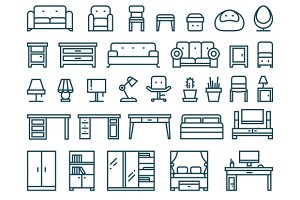 Furniture & sanitary thin line icons