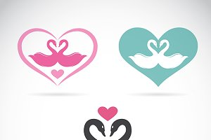 Vector image of two loving swans.