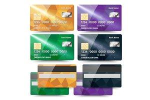 Set of credit card templates
