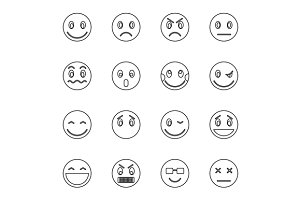 Emoticon icons set, thin line style
