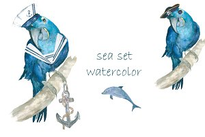 Sea set  watercolor
