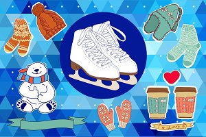 Vector winter set+winter pattern.