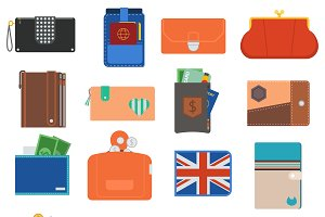 Open purse leather wallet vector