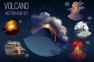 Volcano icon set.