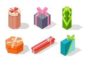 Vector gift box isometric