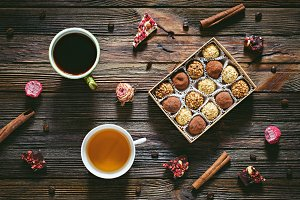 Candies, chocolate, coffee and tea