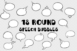 Hand drawn round speech bubbles