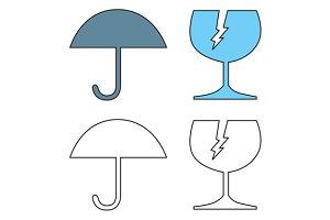 Umbrella and Broken Cracked Glass
