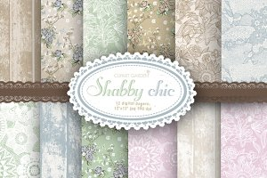 12 shabby romantic Digital Papers.