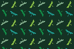 Dragonfly vector. Seamless pattern.