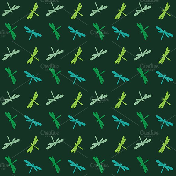 Dragonfly vector. Seamless pattern. - Patterns