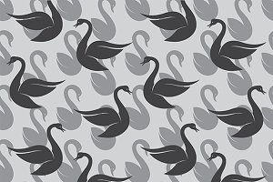 Seamless pattern with black swan.