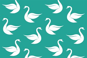 Seamless pattern with white swan.