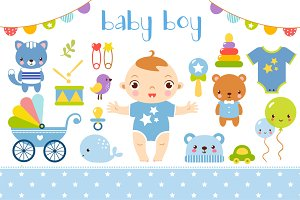 "Baby Shower vector set ""Boy"""