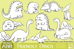 FRIENDLY DINOS - Stamps / Brushes
