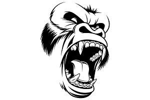 Ferocious gorilla head