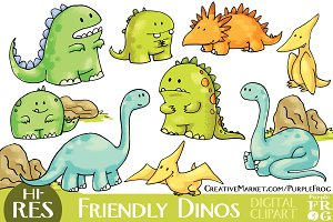 FRIENDLY DINOS - Digital Clipart