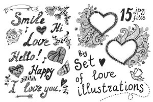Love illustrations set