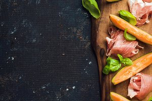 Prosciutto with cantaloupe melon