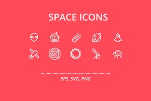 Space (20 Outline Icons)