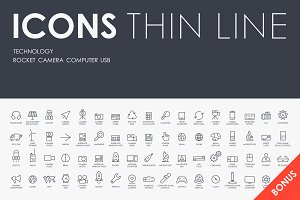 Technology thinline icons + BONUS