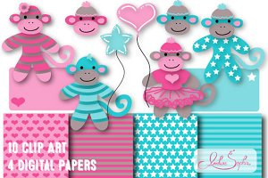 Sock Monkey Clip Art and Paper Set