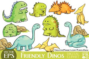 VECTOR - FRIENDLY DINOS - Clipart