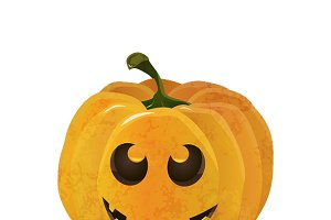 Cartoon halloween pumpkin on white