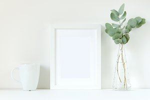 CLEAN! Mockup  frame with eucalyptus