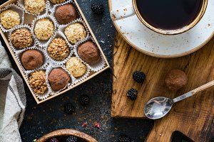 Chocolate truffles and coffee