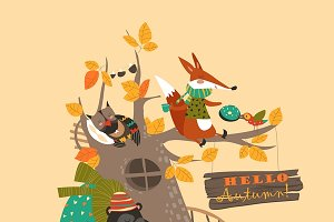 Funny animals on the autumn tree