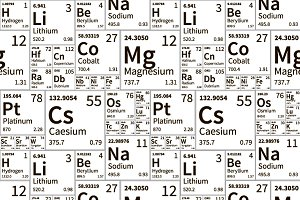 A lot of chemical elements signs