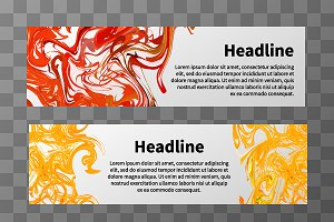 Web banners with splashes of paint