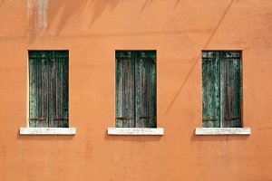vintage orange wall with windows