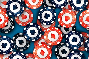 Red and blue casino chips pattern