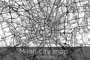 Milan city map - Mono edition