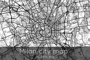 Milan city map - Mono edition