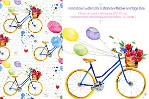 Watercolor retro bike.