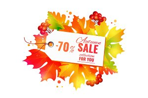 Autumn sale poster, discount