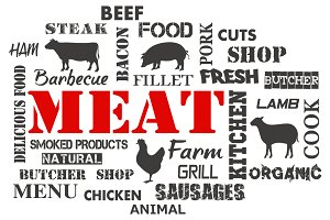 Meat. Text set of butcher