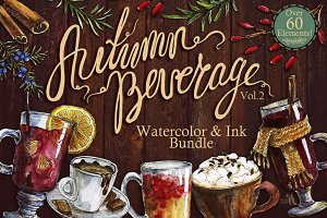 Autumn Beverage Watercolor Bundle