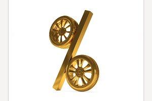 Wheel Sale Element. 3d rendering
