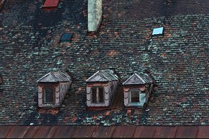 Old tile roof with windows