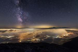 Milky way over Triglav and Bled
